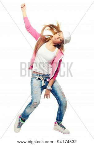 Hip Hop Dancer Girl Dancing Isolated On White Background