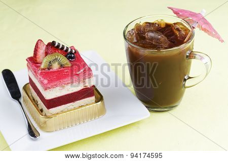 Strawberry Mousse Cake And Ice Coffee