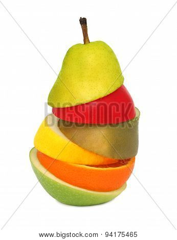 Abstract Pear Composed From Pieces Of Different Fruits (isolated)
