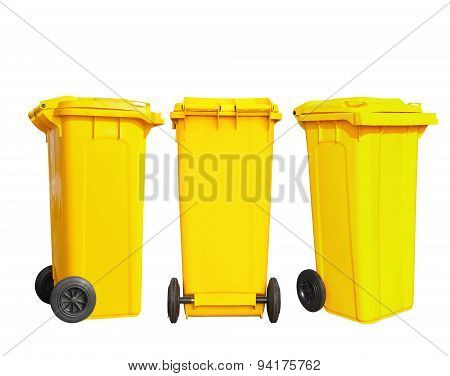 Isolated Yellow Garbage Bin