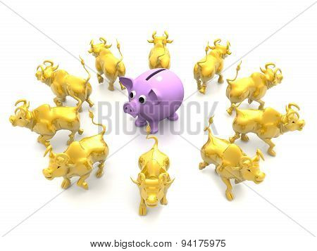 Group Of bulls Around With Piggybank