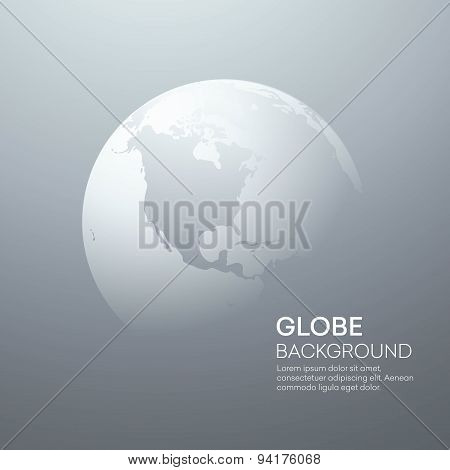 Background with Planet Earth Globe. Vector Illustration
