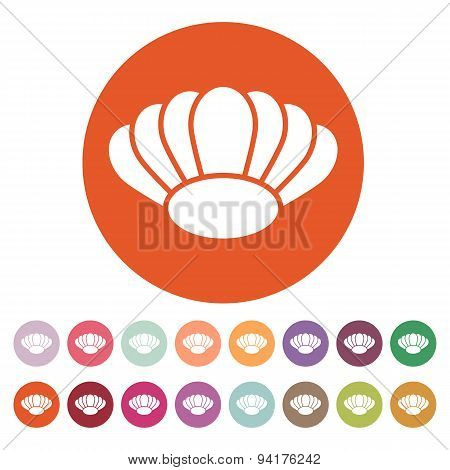 The Shell Icon. Ocean Symbol. Flat