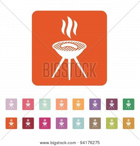 The Grill Icon. Barbeque Symbol. Flat