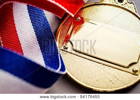 Gold Medal With Blank Face For Text