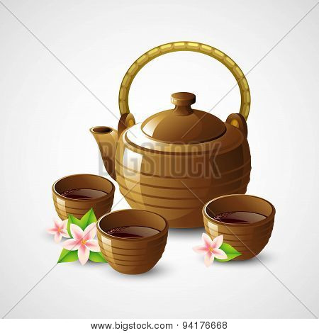 Teapot and cups. Vector illustration