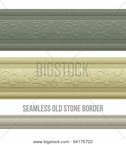 Set of seamless borders stone marble. Vector illustration