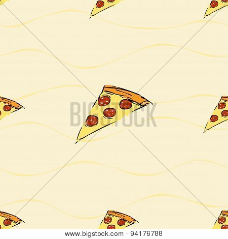 Seamless pattern with pizza slice