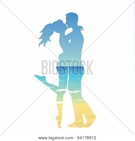 young couple and ocean landscape