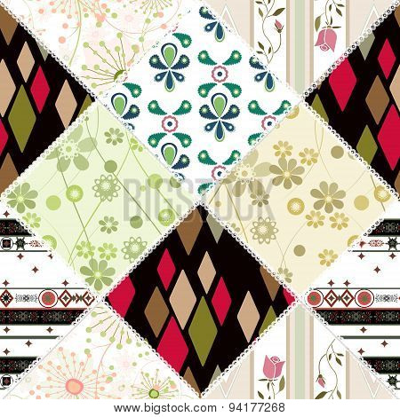 Patchwork Design Seamless Pattern Ornament Background