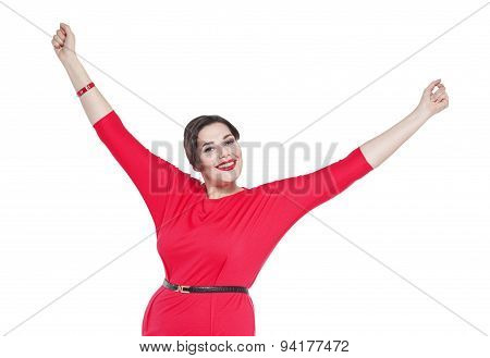 Happy Beautiful Plus Size Woman In Red Dress With Hands Up Isolated