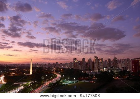 Sao Paulo city at nightfall Brazil. Ibirapuera Park