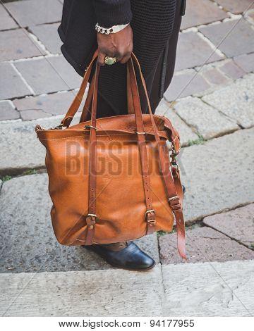 Detail Of Bag Outside Ferragamo Fashion Show Building For Milan Men's Fashion Week