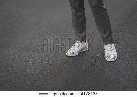 Detail Of Shoes Outside Ferragamo Fashion Show Building For Milan Men's Fashion Week