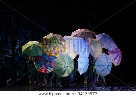 ST. PETERSBURG, RUSSIA - JUNE 19, 2015: Actors perform in a scene from a children's charity project titled Mowgli Generation. The performance is part of the St. Petersburg International Economic Forum