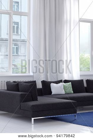Modern modular upholstered lounge suite in a bright white living room in an apartment below large windows with white drapes and a view of an apartment block. 3d Rendering.