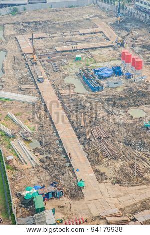 Top View Of Building Construction Site