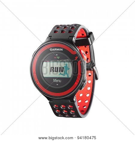 Kiev, Ukraine - June 22, 2015: Photo of red Garmin 220 sport watch with heart rate monitor isolated on white. Product shot