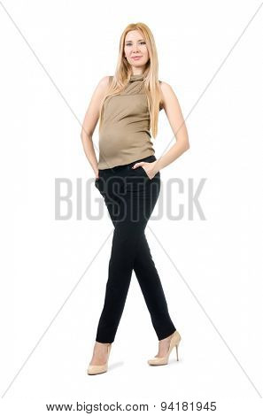 Beautiful pregnant woman isolated on white