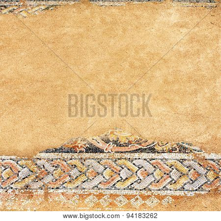 Ancient mosaic on floor in baths, Dion, Greece