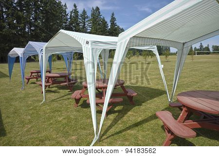 Picnic Tables And Tent Gazebos On Outdoor Lawn.