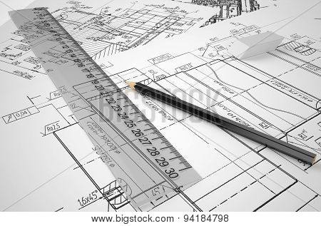 Engineering, Drafting And Construction Concept