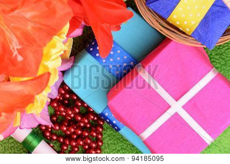 Gift Box Set And Artificial Flower Background
