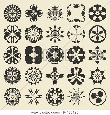 25 design  element set. Twenty five sample object collection.  Round, floral,  geometrical, tribal a