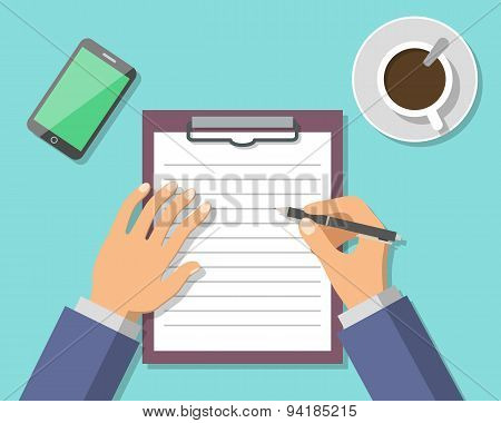 Businessman Hand Sign Business Document