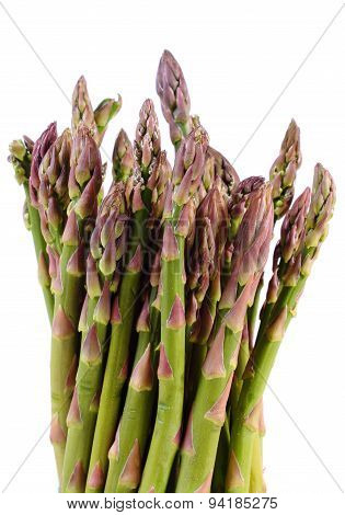 Green Asparagus On White Background, Healthy Eating