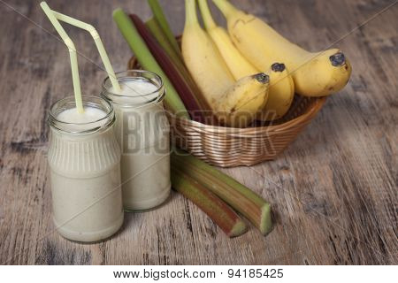 Smoothie Of Banana And Rhubarb With Yogurt