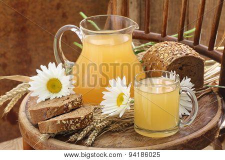 Grain Drink - Kvass (kvas) In A Transparent Jug And Rye Bread