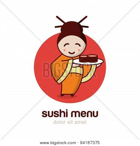 Japanese Girl With Sushi Dish.  Vector Logo Design Template.