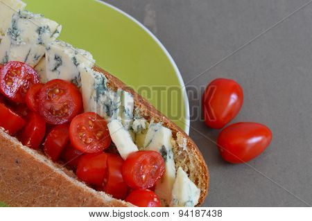 Healthy Sub Roll With Stilton Cheese and Cherry Tomatoes