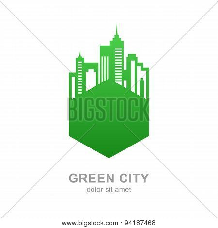 City Buildings Silhouette. Vector Green Logo Design Template. Abstract Concept For Real Estate Agenc