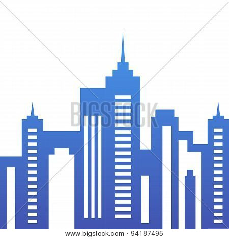Vector City Buildings Silhouette, Abstract Blue Background.