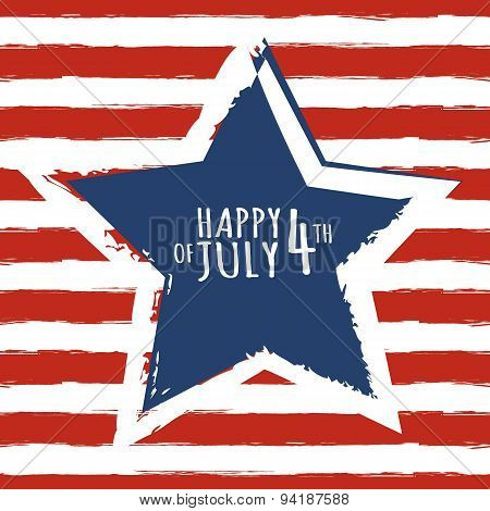 Happy 4Th Of July, Usa Independence Day. Watercolor Blue Star On Seamless Grunge Red Stripe Vector B