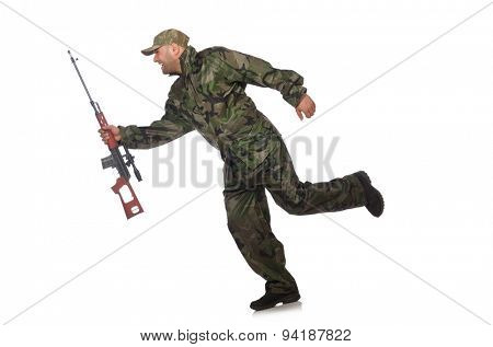 Running soldier with a handgun isolated on white