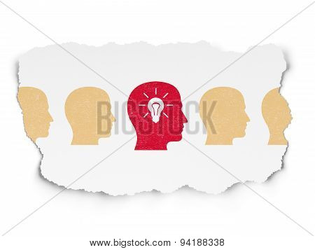 Business concept: head with light bulb icon on Torn Paper