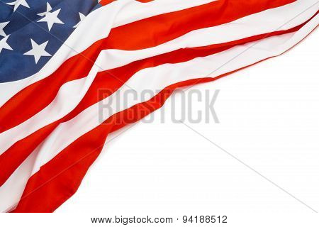 Close Up Shot Of Usa Flag With Place For Your Text