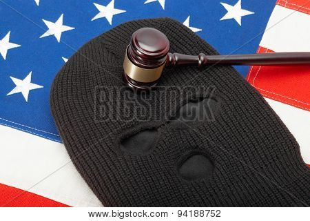 Thief Mask And Gavel Over Us Flag - Studio Shot