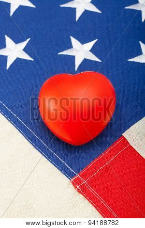 Toy Heart Over Us Flag - Close Up Studio Shot
