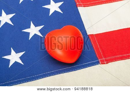Usa Flag With Heart Over It - Close Up Studio Shot