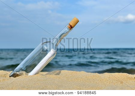 Message In The Bottle From Ocean