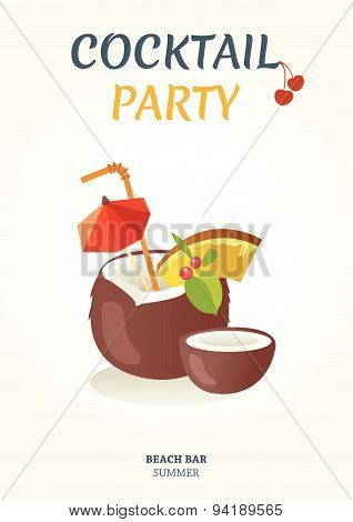 Vector Illustration With Cocktail Party Poster.