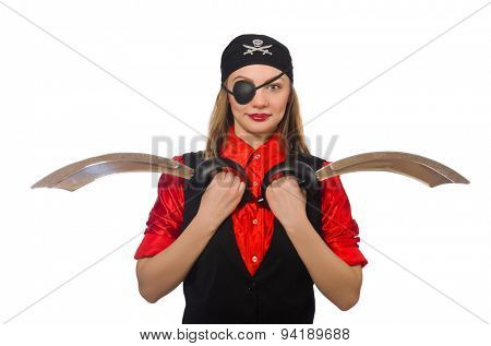 Pretty pirate girl holding sword isolated on white