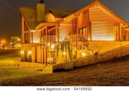 Nice modern house during evening hours