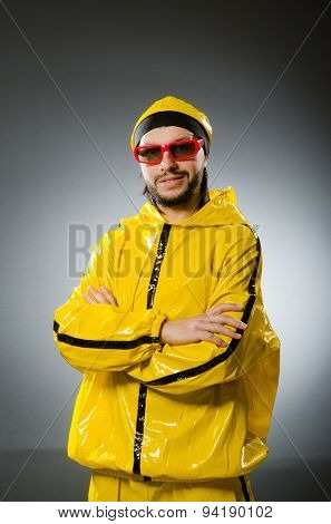 Funny man wearing yellow suit