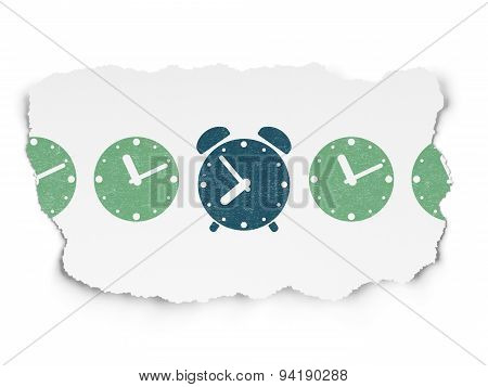 Time concept: alarm clock icon on Torn Paper background