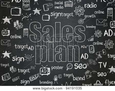 Marketing concept: Sales Plan on School Board background